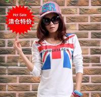 Female t-shirt fashion loose casual fashion flag letter rhinestones print smiley long-sleeve basic shirt