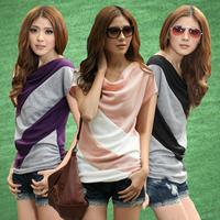 Fashion female t-shirt oblique stripe color block pleated low collar loose plus size basic shirt