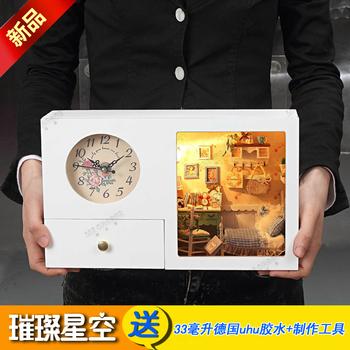Handmade diy musical clock storage box