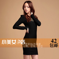 2013 spring women's plus size slim long-sleeve basic one-piece dress OL outfit elegant