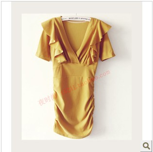 Charming sexy 2012 gentlewomen double layer lotus leaf laciness slim hip elegant one-piece dress
