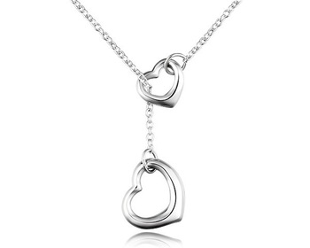 Hot Sale New Arrival Gift Box Heart & Link Pendant Necklace Chain Sterling Silver Plated Wedding Bridal Girlfriend Lover Jewelry