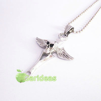 Free shipping +Wholesale  Fashion Silver Stainless Steel Skull Wing Cross Charm Pendant Necklace New Gift Item ID:3095