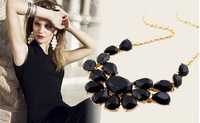 Free Shipping 2013 New Fashion Necklace Gorgeous Party Chokers Necklace Black Green Yelllow Statement Necklace 10 Pcs/lot