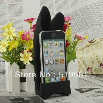 Top Quality Cartoon Rabbit Ear Shape Phone Speaker Stylish Megaphone For iPhone 4 4S 500pcs DHL EMS Free Shipping