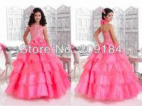 WZF-01 Elegant Halter Bow Beads Sash Crepe Floor Length Ball Gown Wedding Flower Girl Dress