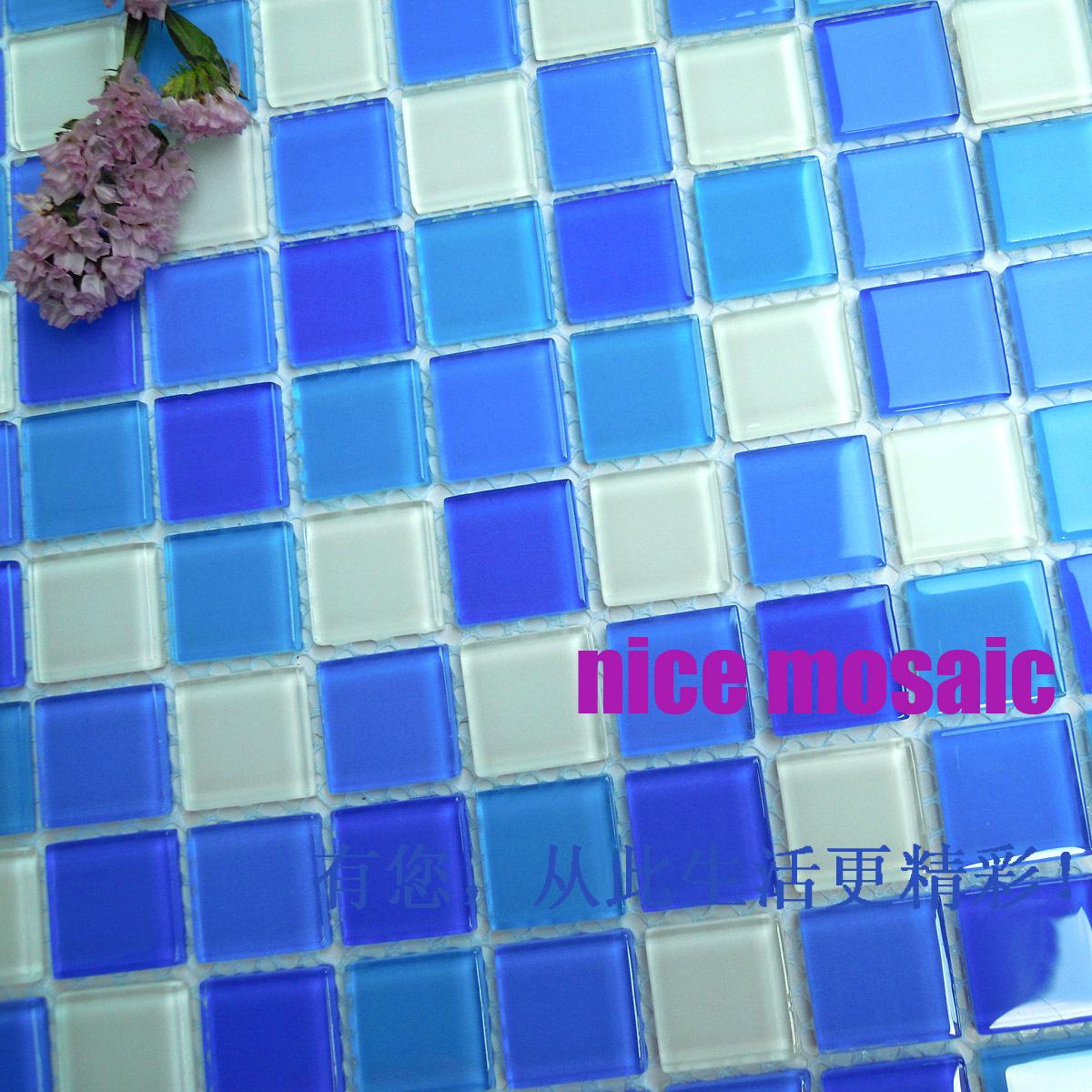 Bleu cristal mosa que de verre salle de bains fond for Carreau de verre salle de bain