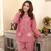 Sleepwear new arrival spring and autumn sleepwear plaid long-sleeve sleepwear woven cotton women's lounge set