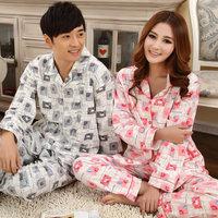 2013 spring and autumn lovers sleepwear plaid long-sleeve sleepwear 100% cotton male women's casual lounge set