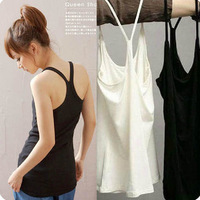 2013 spring and summer women's slim y spaghetti strap vest lambdoid short design basic shirt modal cotton