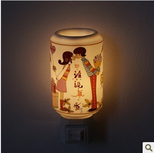 Fashion ceramic night light modern home decoration gift technology energy saving lamp romantic lovers bed-lighting