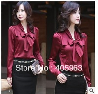 Free shipping ladies  new Slim shirt  stand-up collar lace bow flounced long-sleeved Puff blouses shirts dropship