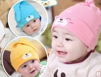 5pcs/lot free shipping 100% pure cotton newborn baby hat  infant cap Cotton Beanie Infant Hat Skull Cap Toddler Boys&Girls Hats