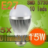 5XUltra Bright Epistar chip E2715W SMD 5730 10leds Bubble Ball Bulb LED bulb, AC85-265V ,warm/cool white, Free Shipping