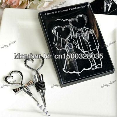 Bride and Bridegroom Bottle Stopper and Opener Two Hearts Wine Favor Set Wedding Favor (Set of 4 Boxes)(China (Mainland))