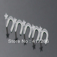 Wholesale uv acrylic nose screw ring studs fashion piercing transparent nose piercing top star 100pcs/lot free shipping