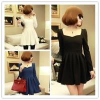 Puff Sleeve Fitted Peplum Woman Blouse Princess Dress XS/S BLACK/BLUE/WHITE