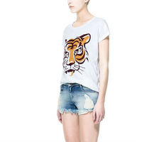 Fashion Women's Casual T-Shirt with Tiger Printing Ladies Tops Tees Free Shipping