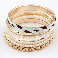 Free shipping 2014 new jewelry european style wholesale punk bangle elegant pearl chain multi-layer fashion knitted stripe women