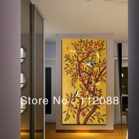 Free shipping! Modern absrtact acrylic oil paintingson canvas,living room wall art,tree and birds astract art painting for sale