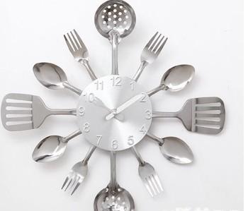 wall clock Knife Fork Spoon Originality clock Kitchen Restaurant The wall Decoration quartz