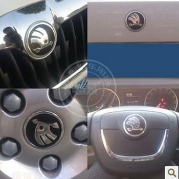 skoda Octavia Carbon fiber sticker car accessory, logo sticker for front/back,7pcs/lot