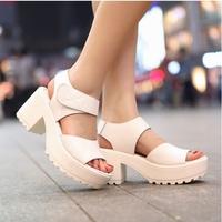 2014 white sandals platform shoes thick heel sandals open toe platform