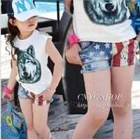 2013 summer new arrival Child flag shorts  5pcs/lot wholesale hot sell fashion kids denim shorts