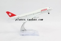 Airplane Model Green Swiss Air Boeing B747 200 Airline Aircraft Jetliner Metal Plane Model Diecast Souvenir Vehicle Toy