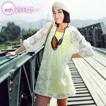 Spring white plus size lace one-piece dress 2013 women's organza color block s13007 twinset one-piece dress  #big0424