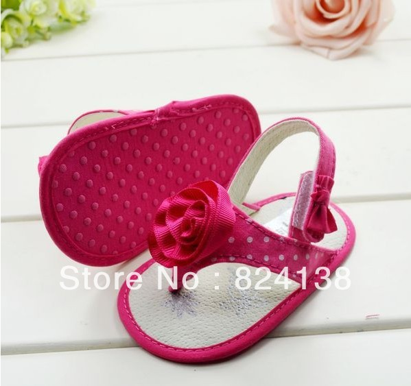 New summer rose red flower children's sandal baby girl shoes soft sole pre-walker kids shoes 3 sizes(China (Mainland))