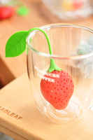 Free Shipping 5pcs Strawberry tea filters silica gel tea-device chrysanthemum tea interval small fresh/bag Tea-spoon