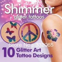 Free Shipping shimmer Glitter Tattoos Creative DIY Water Proof Create Your Own Professional Body Art As Seen On TV