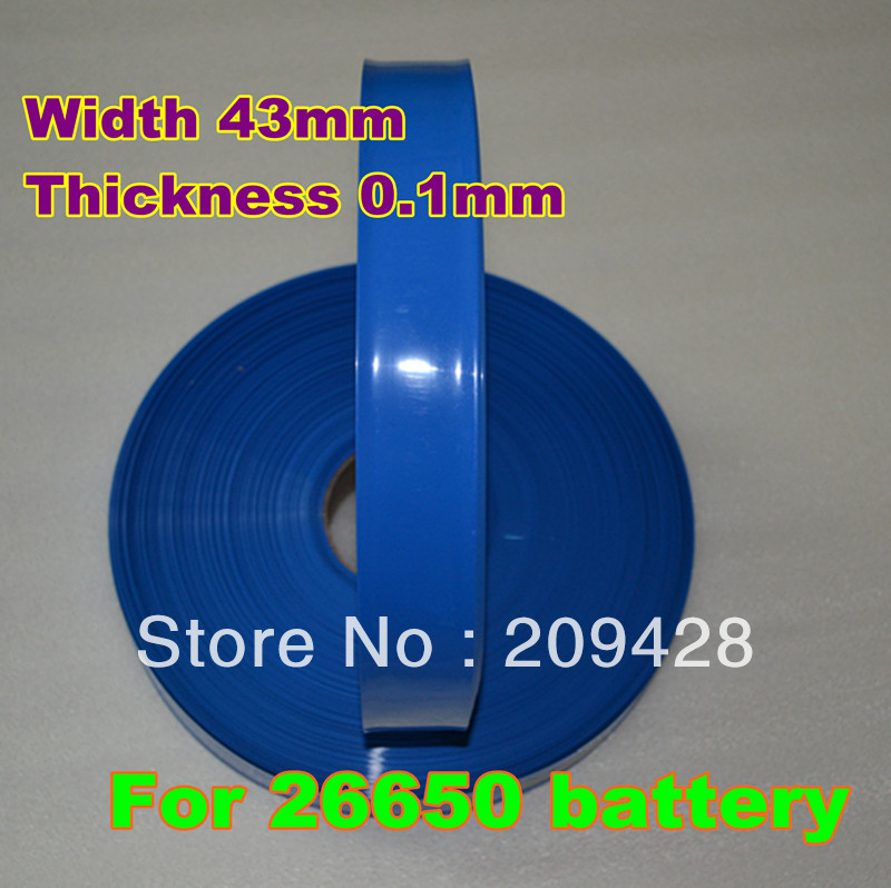 FREE SHIPPING 1m (3.28FT) long 43mm wide PVC heat shrinkage tube pipe for battery single cell and pack assembly(China (Mainland))