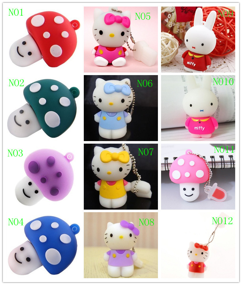 C18 Free Shipping Wholesale Hot Cartoon Cute Kitty and 12 Style 4GB 8GB 16GB 32GB 64GB USB Flash Drive Thumb/Pen/Car Gift(China (Mainland))