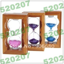 FREE SHIPPING!WHOLE SALE CHEAP! Wooden Hourglass Sand Timer (Color Assorted) E604(China (Mainland))
