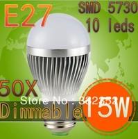 DHL 50XUltra Bright Epistar chip E2715W SMD 5730 10leds Bubble Ball Bulb LED bulb, AC85-265V ,warm/cool white, Free Shipping