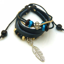 New Multilayer Genuine Leather Unisex Men & Women Fashion Strand Charms Bracelet Bangle with Colorful Beads and Leaf Pendant Hot(China (Mainland))