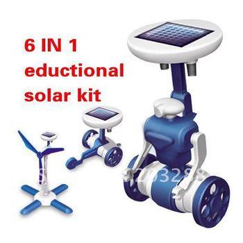 $10 off per $100 order+6 IN 1 Solar Toy Educational DIY Robots Plane Kit Children Kid Gift Creative