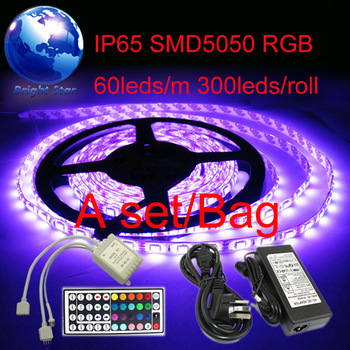 LED Strip Light 5M 5050 RGB Waterproof 300 LEDs + 44Key IR Remote Controller + 5A better quality AC Power Supply 12V adapter