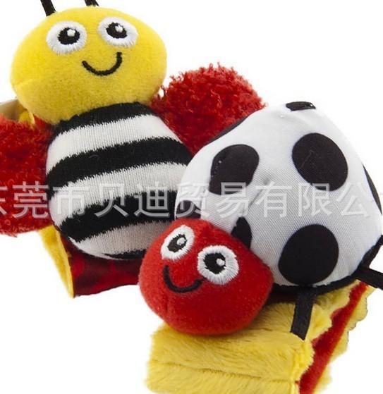 O envio gratuito de 20 pçs/set abelha bebê joaninha desenhos animados pés sino conjunto de meias de pulso Rattle + pé meias(China (Mainland))