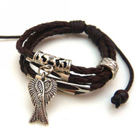 2013 New Handmade Multilayer Braid Woven Bracelet Bangle with Eagle Wing Pendant for Unisex Women Men Wholesale Free Shipping
