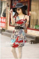 Women's short-sleeved leisure big yards grid v-neck ice silk dress (with belt) free shipping A103