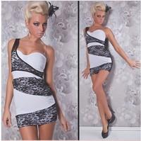 Free shipping sleeveless oblique half collar the nightclub lace collar sexy dress price cheaper S112