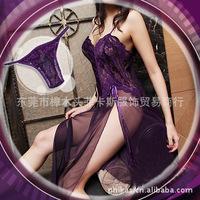 Purple/Sky Blue/Wine Sexy Lingerie Style Ladies Robes Night Gown Nightwear Sexy Underwear Long Dress