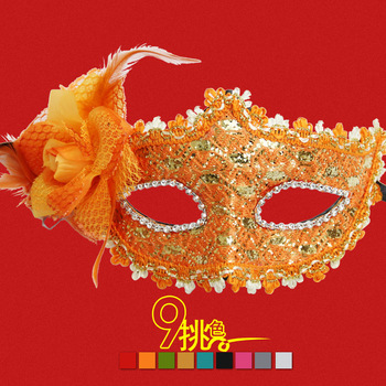 Free shipping Masquerade princess mask quality mask multicolour quality leather of sidepiece with flowers mask