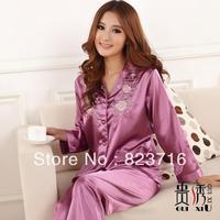 Free shopping women's emulation silk solid color long-sleeve sleepwear underwear twinset set