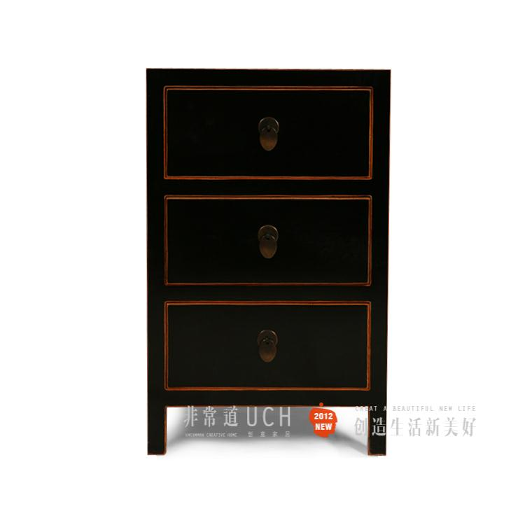 Classical furniture new chinese style mix match solid wood side cabinet storage cabinet black(China (Mainland))