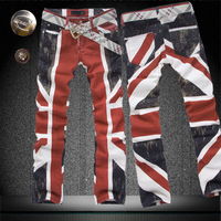 Elastic jeans male slim flag colored drawing straight male flower pants jeans zy398