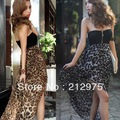 Free Shipping New Woman 2013 Sexy Chiffon Bustier Party Maxi Summer Dresses Leopard Pattern 2 Color